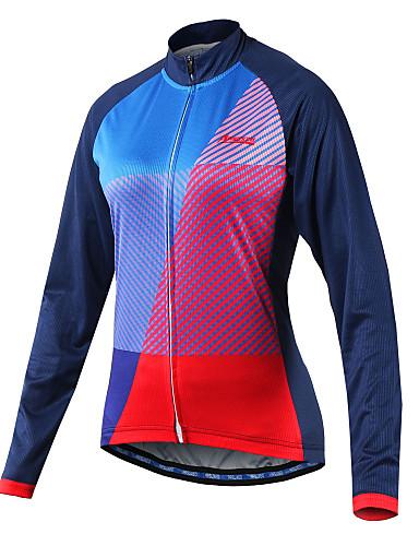 povoljno Odjeća za vožnju biciklom-Arsuxeo Žene Dugih rukava Biciklistička majica Plava Kolaž Bicikl Biciklistička majica Brdski biciklizam biciklom na cesti Reflektirajuće trake Sportski 100% poliester Odjeća / Rastezljivo