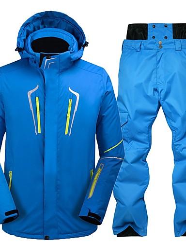 preiswerte Ski, Snowboard Bekleidung-Herrn Skijacken & Hosen Wasserdicht Windundurchlässig Warm Skifahren umweltfreundlich Polyester Winterjacken Schnee-Trägerhose Skikleidung