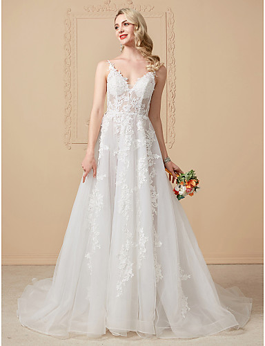 68b91c41a4b Ball Gown V Neck Chapel Train Tulle Over Lace Made-To-Measure Wedding  Dresses with Appliques   Lace by LAN TING BRIDE®   Open Back   See-Through  6386918 ...