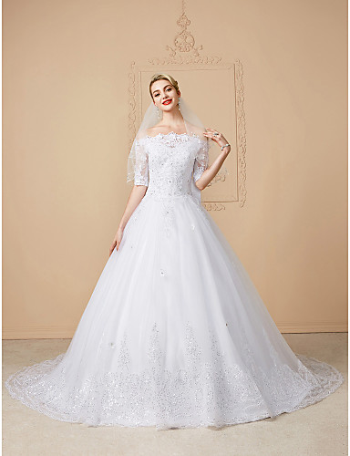 cheap Free Shipping-Ball Gown Wedding Dresses Off Shoulder Court Train Lace Tulle Half Sleeve Sparkle & Shine Open Back Cute with Bow(s) Beading Appliques 2020 / Illusion Sleeve
