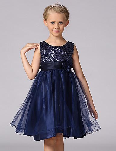 preiswerte Vorherbstliche Kinderkleidung-Kinder Mädchen Süß Prinzessin Party Blumen Solide Pailletten Mehrlagig Ärmellos Kleid Schwarz