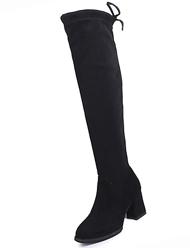 cheap 11.11 - Women's Boots Top Seller-Women's Boots Over-The-Knee Boots Chunky Heel Round Toe PU Over The Knee Boots Comfort / Fashion Boots Winter Black / EU39