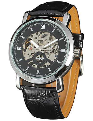 c084d7e81714 WINNER Hombre Reloj de Pulsera   El reloj mecánico Chino Huecograbado Piel  Banda Lujo   Vintage Negro   Cuerda Automática 6412076 2019 –  24.99