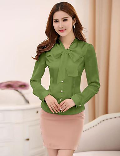 billige Dametopper-V-hals Skjorte Dame - Ensfarget, Sløyfe Grunnleggende Arbeid Lys Grønn