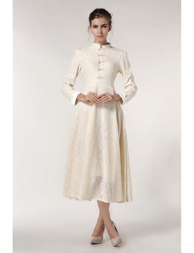 preiswerte Ausverkauf-Damen Swing Kleid Solide Midi Ständer