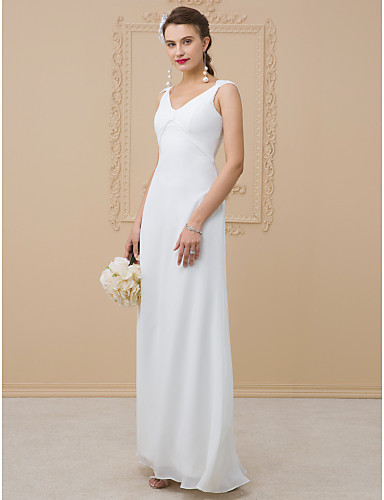 a987d9418 Sheath / Column V Neck Floor Length Chiffon / Charmeuse Made-To-Measure  Wedding Dresses with Pleats by LAN TING BRIDE® / Open Back 5936894 2019 –  $159.99