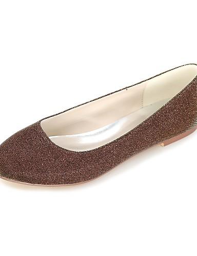 billige Shoes & Bags Must-have-Dame Flate sko Flat hæl Rund Tå Glimtende Glitter Ballerina Vår / Sommer Sølv / Rød / Blå / Fest / aften / Formell