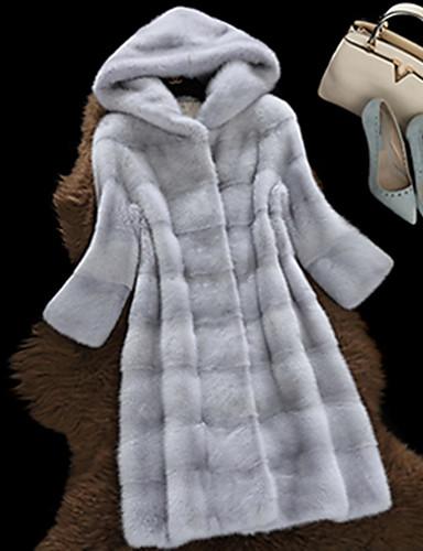 Γυναικεία Αργίες / Εξόδου Απλός / Καθημερινό Χειμώνας Μακρύ Γούνινο παλτό, Μονόχρωμο Μακρυμάνικο Άλλα Μαύρο / Ανθισμένο Ροζ / Ανοιχτό Γκρι