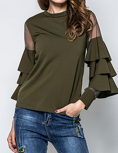 cheap Women's Tops-Women's Party Going out Weekend Street chic Cotton Blouse - Solid Colored Mesh Black / Spring / Fall / Ruffle / Sheer