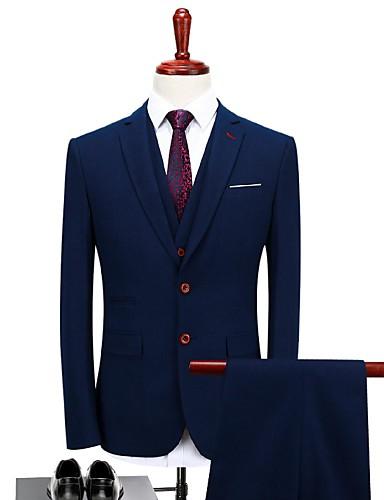 Σκούρο μπλε Καρό Τυπική εφαρμογή Πολυεστέρας Κοστούμι - Πέτο με Μύτες / Turndown Μονόπετο Ενός Κουμπιού