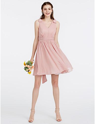 9f2f78204c3e Γραμμή Α   Πριγκίπισσα Λαιμόκοψη V Κοντό   Μίνι Σιφόν Φόρεμα Παρανύμφων με  Ζωνάρια   Κορδέλες   Πλισέ με LAN TING BRIDE® 6365639 2019 –  99.99
