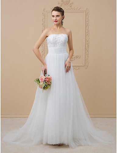 A-Line / Princess Strapless Chapel Train Tulle / Glitter Lace Made-To-Measure Wedding Dresses Beading / Sequin / Lace LAN TING BRIDE® / Sparkle & Shine / Open Back