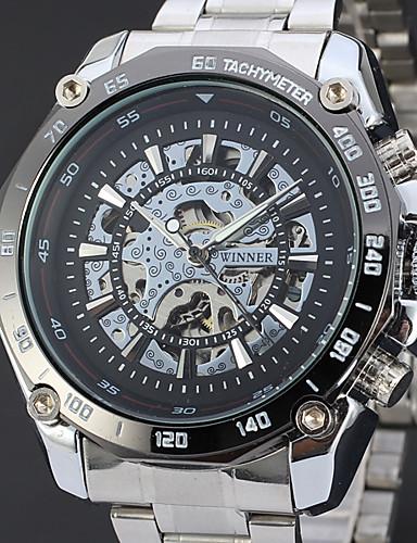 WINNER Ανδρικά Διάφανο Ρολόι Ρολόι Καρπού μηχανικό ρολόι Αυτόματο κούρδισμα Ανοξείδωτο Ατσάλι Ασημί 30 m Εσωτερικού Μηχανισμού Απίθανο Αναλογικό Πολυτέλεια Κλασσικό Βίντατζ Καθημερινό - Λευκό Μαύρο