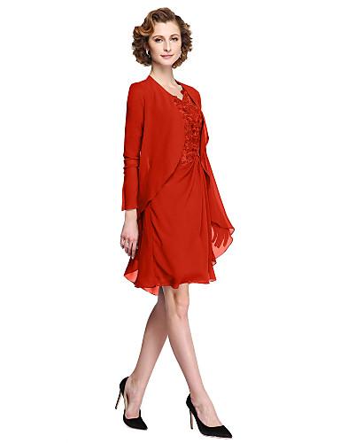 voordelige Wrap Dresses-A-lijn V-hals Tot de knie Chiffon / Corded Lace Bruidsmoederjurken met Appliqués door LAN TING BRIDE® / Illusie