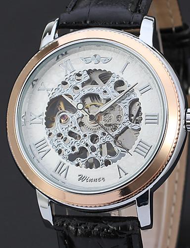 5f476bfd26be WINNER Hombre Reloj de Pulsera   El reloj mecánico Huecograbado   Cool Piel  Banda Lujo   Vintage   Casual Negro   Cuerda Manual 6387059 2018 –  24.99