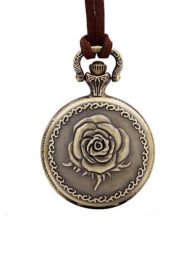 Mulheres Relógio Casual Relógio de Bolso Quartzo Couro Marrom Mostrador Grande Analógico Flor Elegante - Bronze Um ano Ciclo de Vida da Bateria