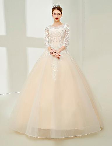 Bead Neck Lace Illusion Wedding Dress