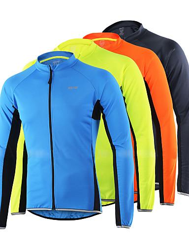 povoljno Biciklističke majice-Arsuxeo Muškarci Dugih rukava Biciklistička majica Svjetlo žuta Sivo crna žuta Kolaž Bicikl Biciklistička majica Majice Brdski biciklizam biciklom na cesti Reflektirajuće trake Sportski 100% poliester