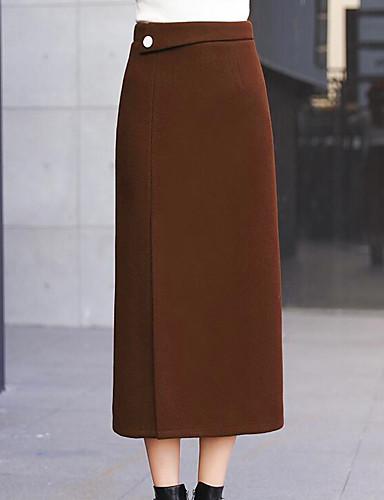 preiswerte Unterteile-Damen Grundlegend Schick & Modern Ausgehen Rock Röcke - Solide Winter Schwarz Orange Braun S M L