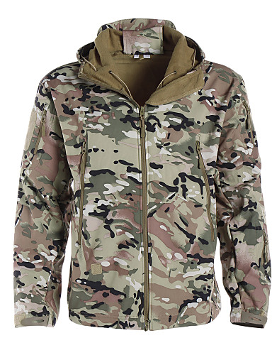 cheap Softshell, Fleece & Hiking Jackets-Men's Camouflage Hunting Jacket Outdoor Thermal / Warm Waterproof Windproof Breathable Autumn / Fall Winter Camo Jacket Softshell Jacket Winter Jacket Polyester Softshell Long Sleeve Camping / Hiking