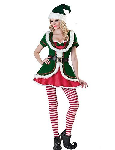 preiswerte Weihnachtskostüme-Weihnachtsmann FrauClaus Kostüm Damen Weihnachten Fest / Feiertage Polyester Grün Karneval Kostüme Mehrfarbig Urlaub Weihnachten