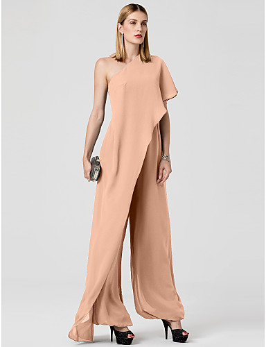 cheap Special Occasion Dresses-Jumpsuits Sexy Grey Wedding Guest Formal Evening Dress One Shoulder Sleeveless Floor Length Chiffon with Draping 2020