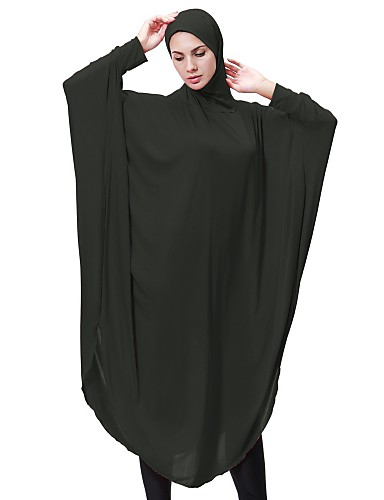 preiswerte Abayas-Damen Party Grundlegend Lantern Sleeve Lose Abaya Kaftan Kleid Solide Midi