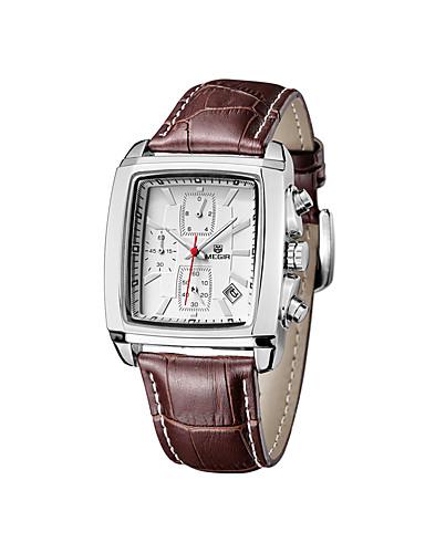 preiswerte MEGIR®-MEGIR Herrn Uhr Armbanduhr Quartz Echtes Leder Kalender Cool Analog Klassisch Freizeit Modisch Weiß Schwarz / Edelstahl