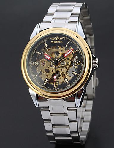 WINNER Férfi Karóra   mechanikus Watch Üreges gravírozás   Menő Rozsdamentes  acél Zenekar Luxus   Vintage   Alkalmi Ezüst   Automatikus önfelhúzós  6387660 ... 77a3cce560