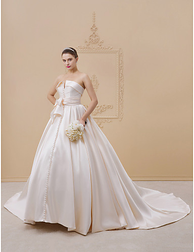 salón sin tirantes catedral encaje / satén / tul vestidos de novia
