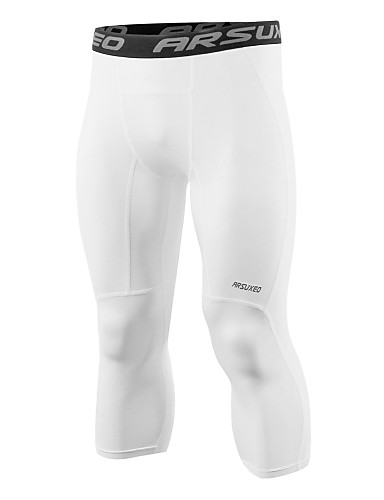 cheap Re11.11- Ready For You, Let's Go Skiing-Arsuxeo Men's Running Tights Running 3/4 Capri Pants Compression Pants Spandex Sports 3/4 Tights Leggings Running Fitness Gym Workout Exercise Moisture Wicking Three Dimensional Tailor Quick Dry Plus