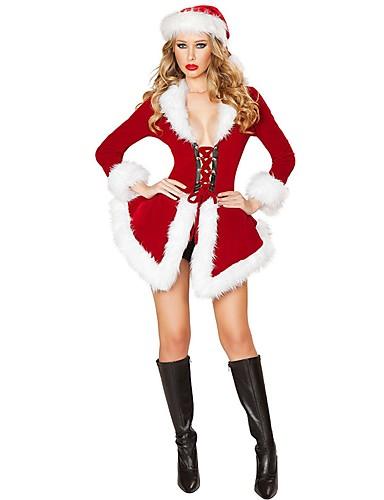 رخيصةأون أزياء عيد الميلاد المجيد-بابا نويل Mrs.Claus كوستيوم نسائي كريسماس عيد الميلاد عطلة / عيد بوليستر أحمر كرنفال ازياء لون سادة عطلة