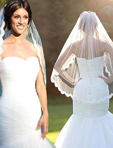 Μίας Βαθμίδας Άκρη με Απλίκα Δαντέλας / Μοντέρνα Πέπλα Γάμου Πέπλα ως τον αγκώνα με Δαντέλα Δαντέλα / Τούλι / Οβάλ