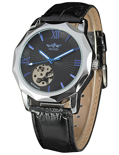 WINNER Men's Wrist Watch / Mechanical Watch Chinese Hollow Engraving Leather Band Luxury / Vintage Black / Stainless Steel / Automatic self-winding 6412077 ...