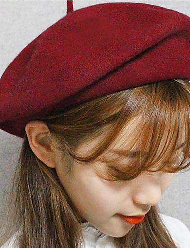 cheap Winter Accessories-Women's Vintage Wool Fedora Hat-Solid Colored Stylish Spring, Fall, Winter, Summer Dark Gray Wine
