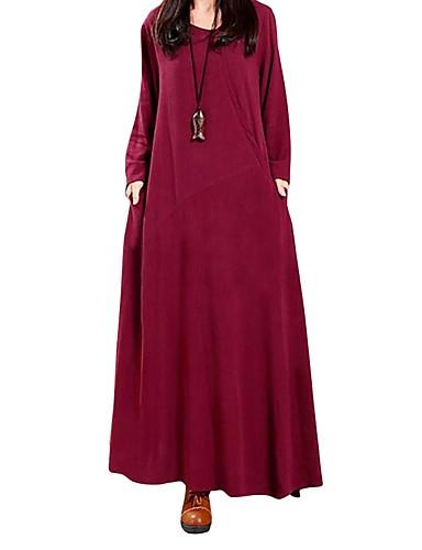 levne Maxi šaty-Dámské Vintage Bavlna Velkoformátové Volné Šaty - Jednobarevné Retro, Velkoformátové Maxi
