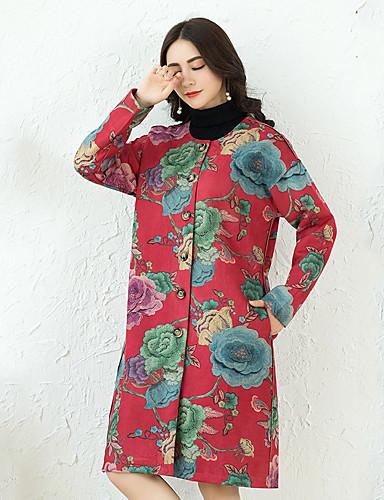 Γυναικεία Παλτό Κινεζικό στυλ   Εκλεπτυσμένο - Φλοράλ PU   Φθινόπωρο    Χειμώνας 6343249 2019 –  31.49 a15fd554d5a