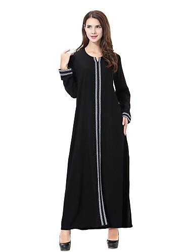 preiswerte Abayas-Damen Übergrössen Party Lose Abaya Dschallabija Kaftan Kleid - Bestickt, Solide Midi