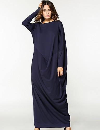 Γυναικεία Βαμβάκι Τουνίκ Φόρεμα - Μονόχρωμο Μακρύ / Φαρδιά