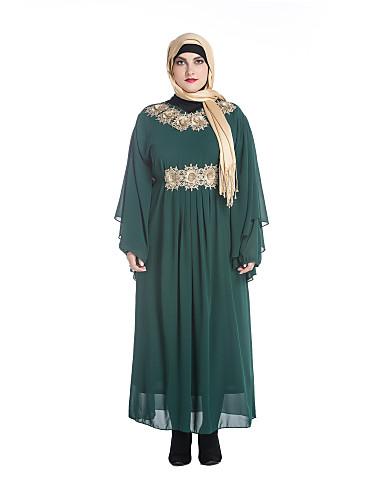 dbdada271976b Women's Party Masquerade Simple Sheath Dress,Solid Embroidered Round Neck  Maxi Long Sleeve Polyester Fall Medium Waist Micro-elastic 6399003 2019 –  $42.99