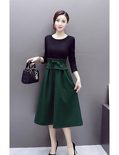 3399 žene Pamuk Swing Kroj Haljina Color Block Midi Jesen Zima