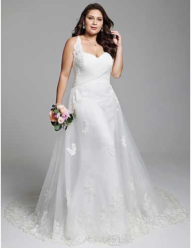 cheap Wedding Dresses-A-Line Sweetheart Neckline Court Train Tulle Over Lace Regular Straps Simple / Vintage Illusion Detail Wedding Dresses with Criss Cross / Appliques / Lace-up 2020