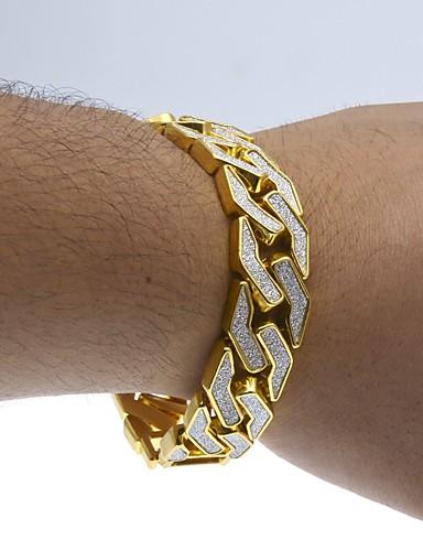 baratos Acessórios masculinos populares-Homens Pulseiras em Correntes e Ligações Link cubano Dois Tons Punhos Luxo Rock Hip-Hop Moda de Rua Dubai Chapeado Dourado Pulseira de jóias Dourado / Prata Para Casual Bandagem