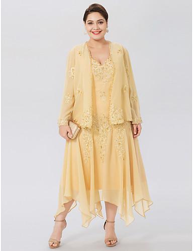 13bd2ef4fc6d7 Plus Size A-Line V Neck Asymmetrical Chiffon Beaded Lace Mother of the Bride  Dress