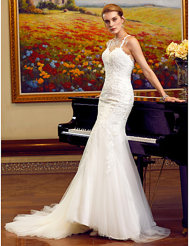 Mermaid / Trumpet Sweetheart Neckline Chapel Train Tulle / Lace Tulle Made-To-Measure Wedding Dresses Appliques / Lace LAN TING BRIDE® / Open Back
