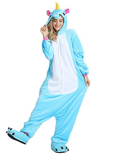 preiswerte Sale-Erwachsene Kigurumi-Pyjamas Unicorn Fliegendes Pferd Pony Pyjamas-Einteiler Samtnerzchen Schwarz / Leicht Blau / Weiß Cosplay Für Herren und Damen Tiernachtwäsche Karikatur Fest / Feiertage Kostüme