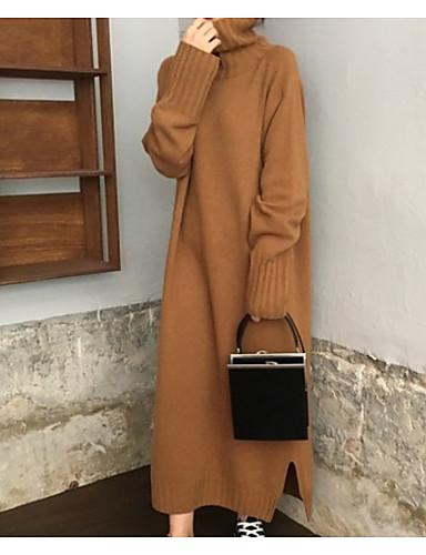 Γυναικεία Καθημερινά / Καθημερινά Ρούχα Μονόχρωμο Μακρυμάνικο Μακρύ Πουλόβερ Πουλόβερ Jumper, Ζιβάγκο Φθινόπωρο / Χειμώνας Ανοιχτό Γκρι / Χακί