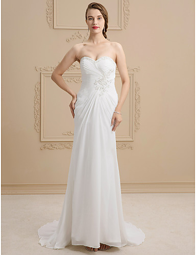 89cc9a43a91 Sheath   Column Sweetheart Sweep   Brush Train Lace Satin Wedding Dress  with Beading Appliques Criss-Cross by Ed Bridal 2730060 2019 –  149.99