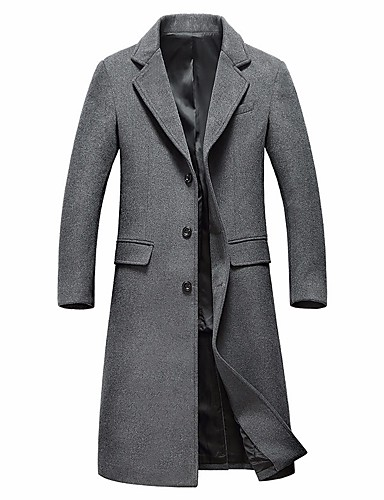 cheap Men's Jackets & Coats-Men's Daily Basic / Sophisticated Winter Plus Size Long Coat, Solid Colored Notch Lapel Long Sleeve Wool Black / Gray