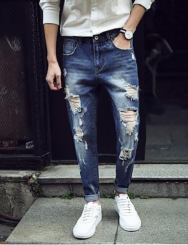 Couleur Pantalon Mince Coton Troué Jeans Homme Skinny Pleine ZWx1Pnn